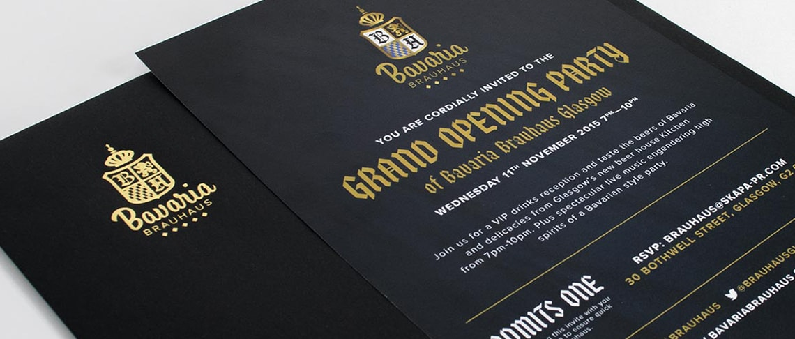 example of gold foil printed on black gf smith paper for bavaria brauhaus Glasgow demonstrating the best in print design glasgow