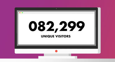 Animation screenshot of a computer screen with website visitor stats showing how social media marketing can generate lots of visits to a website