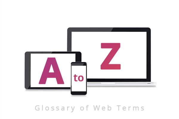 "Red Media: Image of a tablet, mobile and laptop with the letters A to Z on them above the words ""Glossary of Web Terms"""