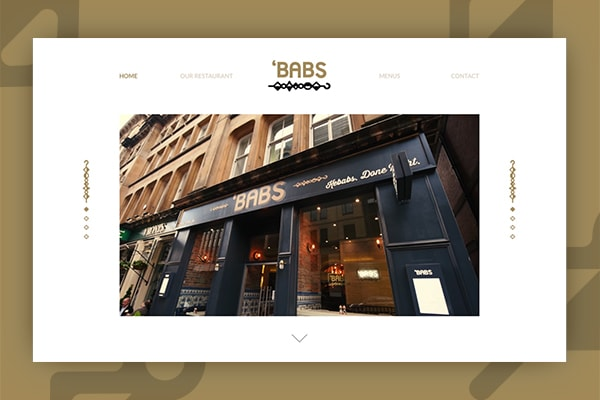 Image the Babs restaurant Glasgow website design by Red Media, against a gold background