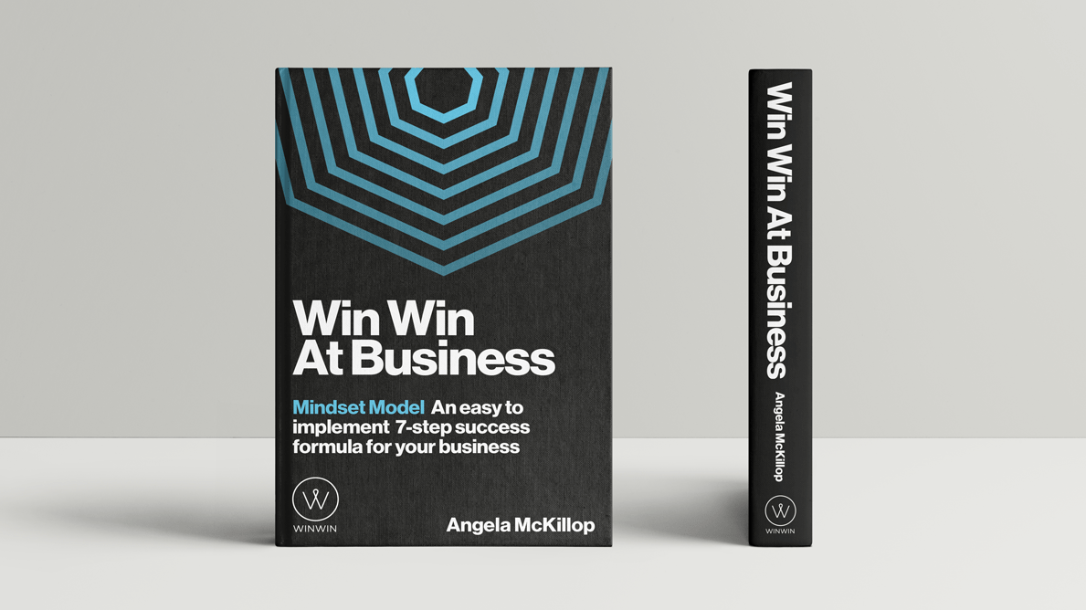 Book cover design for Win Win at Business by Angela McKillop showing a visualisation of the 7 steps of success in the form of 7 repeated and decreasing in size hexagons.